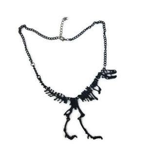 Jewelry - Matte BLACK T-Rex Dinosaur Skeleton Punk Necklace